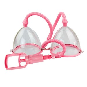 Manual Breast Pump Bust Enhancer Física Massager Enlarger Alargamento de sucção a vácuo dupla Cup Bondage engrenagem Tortura de beleza para Lady