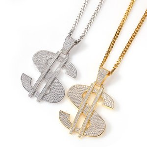 Big Model US Dollar Money Sign Pendants Necklace for Men Hip Hop 3A CZ Stone Bling Iced Out Rapper Jewelry Gold Color