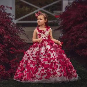 Adorable 3D apliquen niñas pequeños Pageants vestidos vestido de bola vestido de niña para boda joya cuello tul primero comunión vestidos