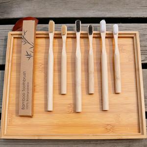 Бамбуковая зубная щетка круглая ручка натуральный экологически чистые бамбуковый уголь волокна мягкой щетиной ребенок щетки один пакет крафт