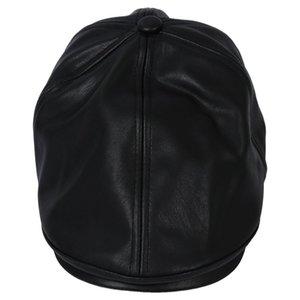 Meninos e meninas de couro Beret Cap Vintage Peaked Hat Newsboy protetor solar chapéu alto preto Pet Shop Início Jardim