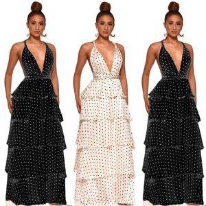 Women Sexy Deep V Neck Dress Fashion Polka Dot Backless Ruffle Maxi Dress New Women Summer Dress