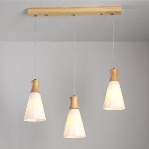 European  Japanese Glass Led Chandelier Lighting Modern Wood Hanging Light Fixtures E27 for Living Room Kitchen Dining Room Hall RW273