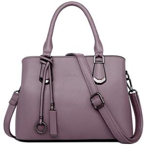 Designer sacos de couro real da bolsa Commute Seleção Simples Handbag Shoulder Mãe designer saco de couro genuíno Bolsas-Purple