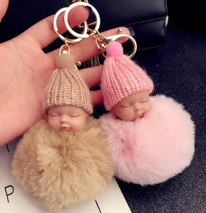 12 farben nette schlafende baby puppe schlüsselbund pompom kaninchenfell ball schlüsselanhänger auto schlüsselanhänger frauen schlüsselanhänger tasche anhänger charme zubehör