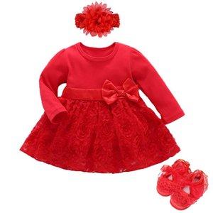 Baby Girls Infant newborn Dress kids girls wedding Party Birthday Outfits 1-2 years dress headband Shoes Set Christening Gown