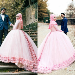 Cendrillon Rose Robe De Bal Robe De Mariage Musulman Col Haut Manches Longues Tulle Fleurs En Dentelle Dos Bandage Robes De Mariée Musulman