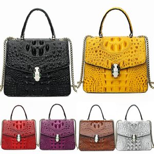 Designer Leather Crocodile Shoulder Bag Genuine Cow Leather Popular Metal Rivets Decorative Fashion Bags Fast Free Shipping#265