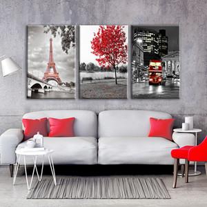 HD Drucke Gemälde Wandkunst 3 Stücke Paris Eiffelturm Bilder Leinwand Wohnkultur Rot Auto Bus Red Maple Tree Poster