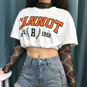 Womens Tops Fashion Street Hip-hop Printed Waistless Tshirts Womens Summer Sexy Tees Tops Short Sleeve Loose T Shirts New