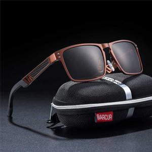Barcur Tendência Estilos de Alumínio De Vidro De Magnésio Quadrado Homens Óculos De Sol Polarizados Óculos De Sol Para Homens Esporte Eyewear Oculos De Sol J190529