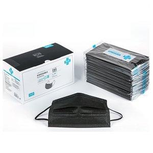 Emballage avec boîte jetable activé masque de carbone PM2,5 non tissé masque facial brume épreuve épreuve poussière Masques 50pcs / lot noir Livraison gratuite