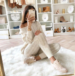 Wholesale-Women's Two Piece Outfits Sweaters Winter Tops Long Sleeve Sweatshirt Slim Solid Knitted Jumpers Sweter Set