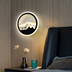 minimalist creative personality led wall lamp Nordic living room aisle background wall lamp bedroom round bedside lamp Warm white 10144