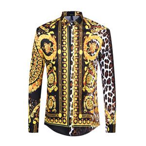 Camicia da uomo di marca Seestern Camicia da uomo manica lunga stampata con motivo leopardo in fiore per il tempo libero Top classico stile western