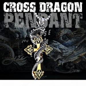 Steel soldier drop shipping cross dragon pendant necklace stainless steel 3D men jewelry