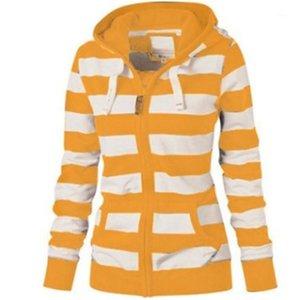 Hoodies Striped Print Long Sleeve Hooded Ladies Sweatshirts Fashion Contrast Color Slim Female Clothing Womens Designer Zipper