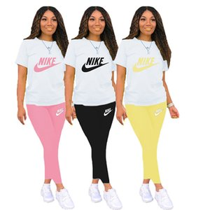 Women designer print t-shirt shorts sports suit 2 piece set summer casual clothing tracksuits solid color short sleeve S-2XL capris DHL 3437