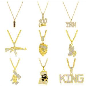 Yapay elmas Erkekler kolye Alaşım Hip Hop Salkım Kalp Harf Numarası Tasarım Takı Erkek Kolye Altın Zincirler Moda Aksesuar 14 Stil