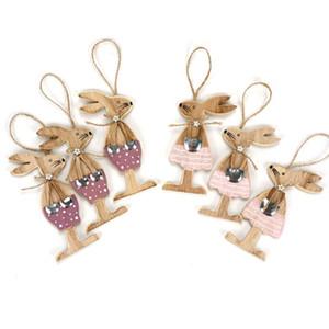 Пасхальное украшение 6pcs / Set Пасхальных Кролики партия Diy украшение ручная работа Wood Craft Festival подарки Красивая кролик Пасха