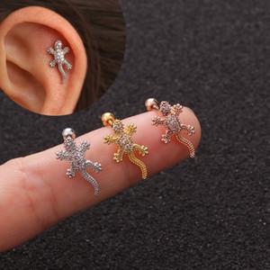 1Pc Cz Animal Gecko Cartilagine Orecchini Lucertola Rettile Helix Stud Ear Piercing gioielli Tragus Conch posteriore della vite Orecchini