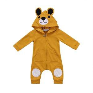 Yaş 0-24Months için Pocket ile Sevimli Ayı Bebek Rompers Yenidoğan Bebekler Erkekler Kızlar Kapşonlu Zippper Jumpsuit Kıyafet Giyim