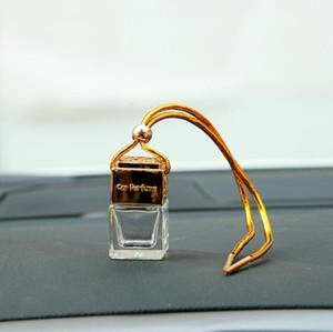 Cubo Vazio Garrafa De Vidro Carro Pendurado Perfume Espelho Retrovisor Ornamento Purificador De Ar Para Óleos Essenciais Difusor Fragrância Carro-styling