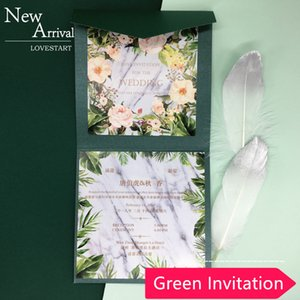 2020 Creative Green Square Invitations Cards Greeting Cards with Envelope Customized Party Card 15x15cm Wedding Party Invitation