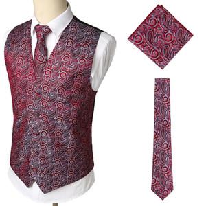 2020 남성 비즈니스 조끼 핫 판매 패션 인기 정장 양복 조끼 조끼와 목에 넥타이 남성 손수건 세트 웨딩 댄스 파티 캐주얼를 설정합니다