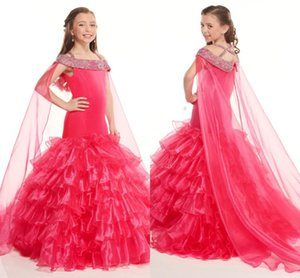 Red Organza Mermaid Pageant Dresses For Little Flower Girls Dresses Beaded Rhinestones Shawl Ruffle Graduation Party Evening Dress new