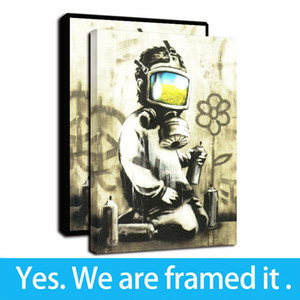 Banksy Art Canvas Prints Street Art Painting Man Poster Wall Painting Picture Home Decor - Ready To Hang - Framed