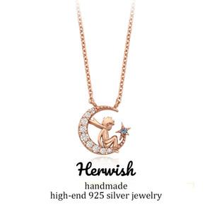 Herwish The Little Prince Collar Colgante de Plata de Ley 925 Bling Ziconia Figura Enlace Cadena Collares Joyería de Las Mujeres