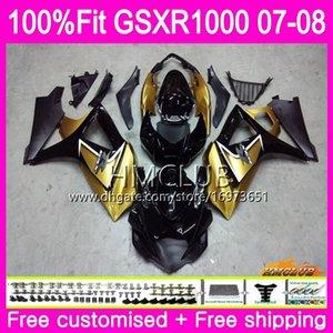 Injection Bodys For SUZUKI GSXR-1000 GSXR 1000 07 08 Bodywork 12HM.0 GSX-R1000 GSXR1000 07 08 K7 GSX R1000 2007 2008 Fairing Golden black