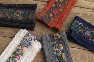 Floral Jacquard fashion Middle Tube Female Hosiery Womens Designer Socks Hemp Pattern Women Sock Retro Small