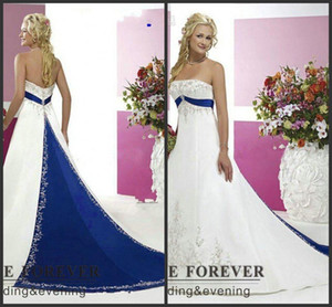 2020 New Vintage Style Plus Size Wedding Dresses Silver Embroidery On Satin White and Royal Blue Floor Length Bridal Gowns Custom Made 126