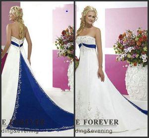 2020 Nuevo estilo de la vendimia más el tamaño de vestidos de novia bordado de plata en blanco satinado y azul real de la altura del tobillo Vestidos de novia por encargo 126