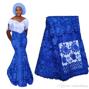 Wedding İçin Yeni Geliş Kraliyet Mavi Afrika Dantel Kumaş ile Boncuk Yüksek Kalite Fransız Nijeryalı Tül Dantel Kumaş