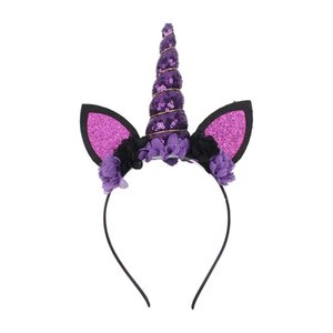 orelhas dos animais Halloween Meninas do Natal Lantejoula Unicorn Chifre cabelo Hoop headband Cabelo Crianças Varas do bebê crianças cosplay bonito cocar hoop