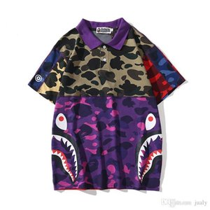 2019 New APE Tshirts Camouflage T Shirt Shark Printing A Bathing Panelled Aape Clothing Men's Casual Short-sleeved with Cotton High Qua