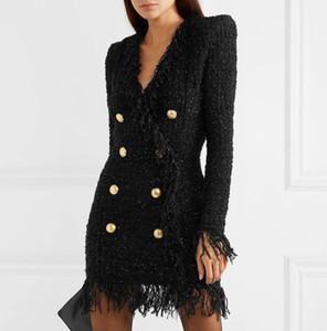 Premium New Style Top Quality Women's Classic Metal Buckles Shiner fringed Dress Double-breasted Slim Woolen Tassel Dress V-Neck Black