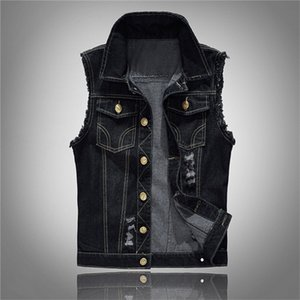 Tasarımcı Erkekler Jeans Ceket Yelek Erkek Plus Size Siyah Denim Jeans Yelek Kolsuz Erkek Kovboy Dış Mekan Homme Ceketler