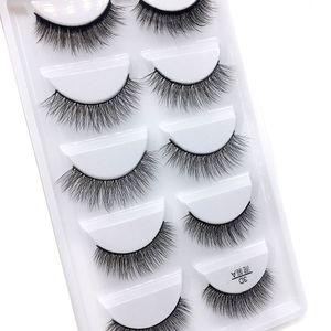 Livraison gratuite Hot Mix 6 style Multipack Faux Cils 3D doux Vison Cils Wispy longs cils Faux Maquillage des yeux naturels Faux Cils