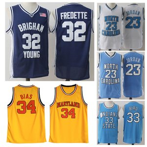 Männer NCAA Brigham Young Cougars 32 Jimmer Fredette Maryland Terps 34 Len Vorspannung ISU Indiana State Jerseys Bird