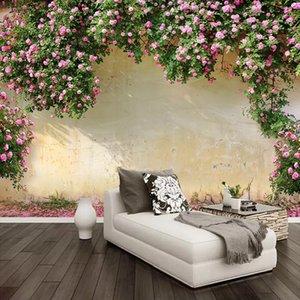 Personalizado 3d foto papel de parede rosa rosa flor videira fotografia fundo mural de parede papel de parede papel auto-adesivo à prova d 'água