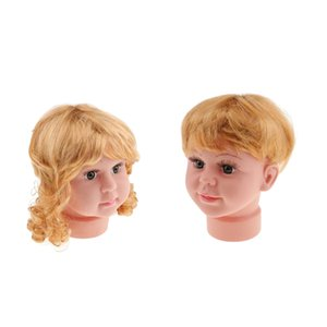 2pcs Girl and Boy Baby Child Kid Mannequin Head Model with Wigs Set for Hats Caps Wigs Sunglasses Show Display