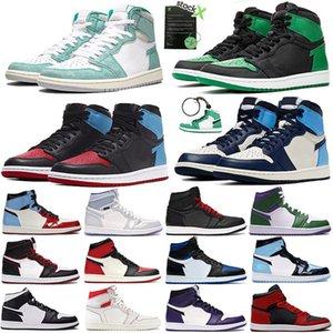 2020 jumpman 1 1s baloncesto zapatos hombres tpine verde negro Obisidian gimnasia negro UNC rojo increíble Hulk formadoras estilista zapatillas de deporte