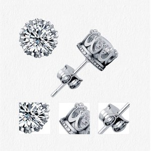 Band New Gold Crown Men Stud Earring 925 Sterling Silver CZ Simulated Diamonds Engagement Beautiful Women Wedding Crystal Ear Rings