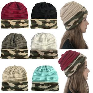 viajar 6styles Camouflage Wool Hat malha Chapéus de Inverno Camuflagem Ao Ar Livre Gorros homens unisex Crânio Ladies Caps Quente Cap CYF3042