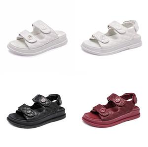2020 WomenS Fahion Design Summer Beach Shoes Кожаные Сандалии Блокирующая Поверхность Скольжения На Прохладных Женских Слайдах Большой Размер 37-41#136
