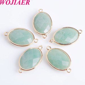 WOJIAER 30pcs Shiny Oval Faceted Natural Stone Beads Double Hole Pendant Connector for Female Necklaces Earrings Jewelry Making DBZ903